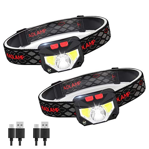 Linterna Frontal LED USB Recargable, ZOYJITU 2Pcs Linterna d