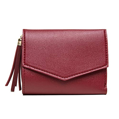 Yi-xir Bolso favorito para mujer sin retención, versión femenina de la borla, monedero simple simple monedero para señoras monedero diagonal (color: rojo, tamaño: mediano)