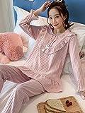 Bedom wallpaper Pijamas de las mujeres de primavera y otoño modelos de algodón puro manga larga rojo novia natal princesa coreana dulce servicio a casa traje L_Rosa