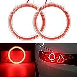 SymArt 1 Pareja COB Angel Eyes LED Coche Halo Luces de Anillo 9-30V Faro Rojo 60mm 70mm 80mm 90mm 10...