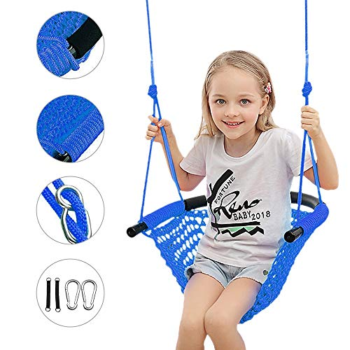 Beletops Kids Swing, Swing Seat for Kids with Adjustable Ropes Heavy Duty Rope Play Secure Children Swing Set Hand-kitting Rope Swing Seat Playground Platform Swing Complete Set (Blue)