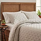 Amazon Brand – Stone & Beam Jersey X-Stitch Cotton Coverlet Set, Soft and Easy Care, Full / Queen, Grey