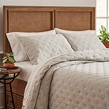 Stone & Beam Jersey X-Stitch Cotton Coverlet Set, Soft and Easy Care, King, Grey