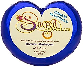 Sacred Chocolate IMMUNO MUSHROOM Maple Sweetened, Stone-Ground, Organic Vegan RAW Chocolate 68% Cacao 1.44oz Bar (12 Pack)
