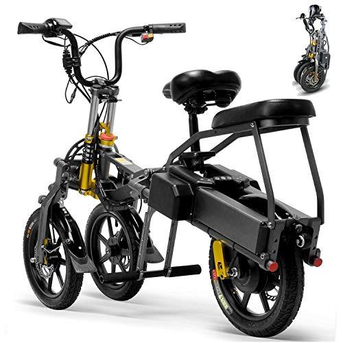 3 Rueda de Bicicleta Eléctrica for El Adulto 250/350W Montaña Plegable Scooter Eléctrico 36/48V 14 Pulgadas Bicicletas Eléctricas Con Batería Desmontable Máxima Distancia de Conducción 80 Kilometros