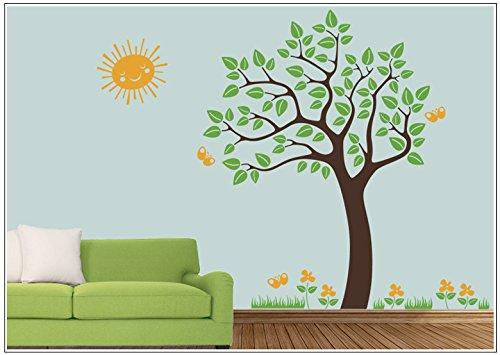 Deco-idea Wandtattoo wandaufkleber kinderzimmer Baum Schmetterling Blumen Sonne wbm42(080 kaffeebraun, set4:Baum 130cm x180cm (Hoch))