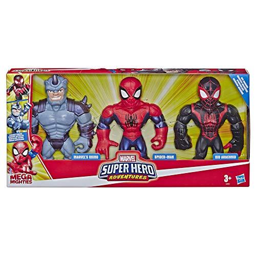 Playskool Heroes Mega Mighties Marvel Super Hero Adventures Web Warriors 3er-Pack, Spider-Man, Kid Arachnid, Marvel's Rhino, 25 cm große Figuren, Kids ab 3 Jahren