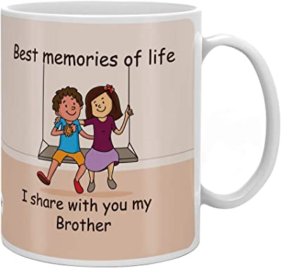 Indigifts Brother Memories With Brother Quote Printed Gift Set Of Mug 330 Ml, Crystal Rakhi ,Roli & Greeting Card For Men/Boys