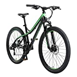 BIKESTAR VTT en Aluminium, Frein à Disque, 21 Vitesses Shimano, 27.5 Pouces | Mountainbike Suspension Avant Cadre 17 Pouces | Noir Vert