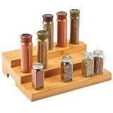 mDesign Organizador de especias – Práctico soporte organizador de armarios de bambú con 3 niveles – Estantes...