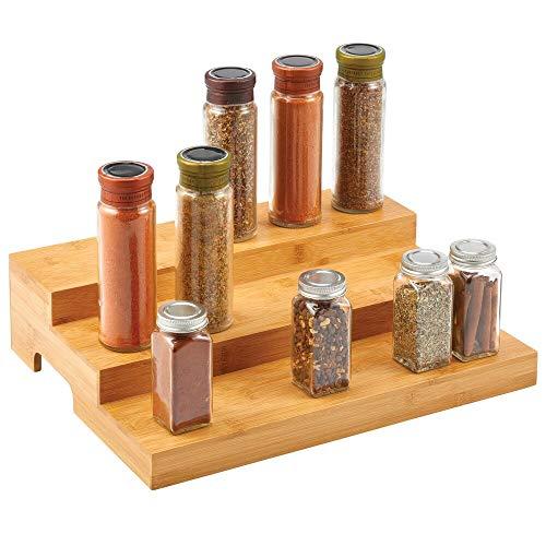 mDesign Porta spezie cucina in bamboo – Organizer cucina per erbe e spezie, a 3 ripiani – Mobiletto spezie da posizionare in cucina su mensole, tavolo da lavoro, dispensa ecc. – naturale
