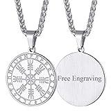 FaithHeart Casco Awe Símbolos Insignias Collar Custom Amuleto de Protección Metálico Acero Inoxidable 316L Joyería Nórdica con Nombres Grabados Helm of Awe