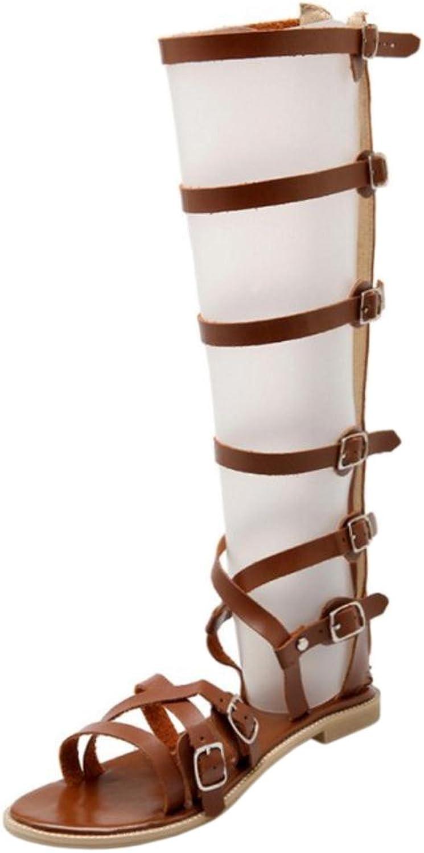 TAOFFEN Women Flat Roma Sandals