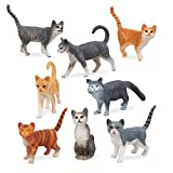 TOYMANY 8PCS Grey and Orange Cat Figurines, Realistic Small Cat Figures Toy Set, Kitten Educational Toy Easter Eggs Cake Topper Christmas Birthday Gift Diorama School Project for Kids Children