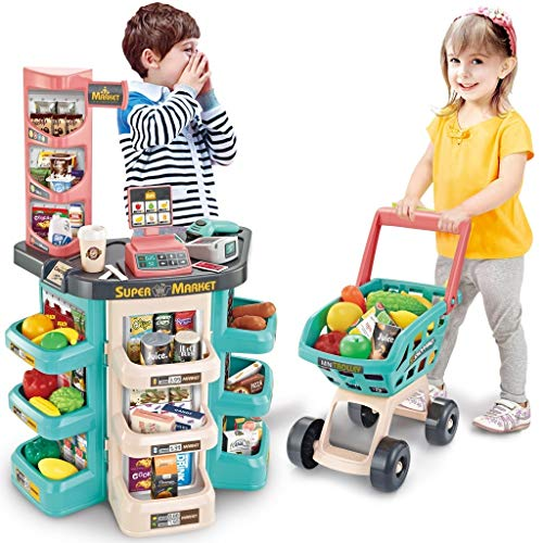 Kids Pretend Play Shopping Handcart Trolley Toy Home Office Decor Sky Blue M