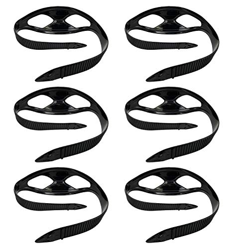 GetWetStore 6-pcs Silicone Snorkel Mask Strap Replacement, Black