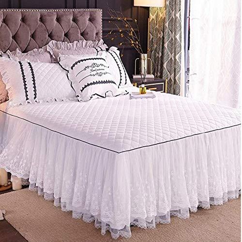 Bettrock Tagesdecke Rüschen Bett Rock Bett Volant Tagesdecke Mit Rüschen Faltenresistent Und Ausbleichen Beständig,Color3-200x220cm(79x87inch)