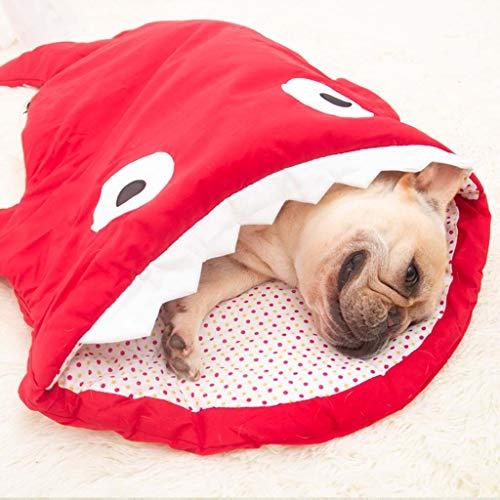 Guomaomao huisdier bed haai vorm huisdier slaapzak kennel katoen warm wasbare grot kat bed hond huis 93x65cm