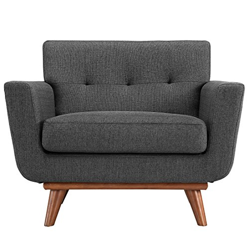 Modway Engage Mid-Century Modern Upholstered Fabric Accent Arm Lounge Chair in Gray