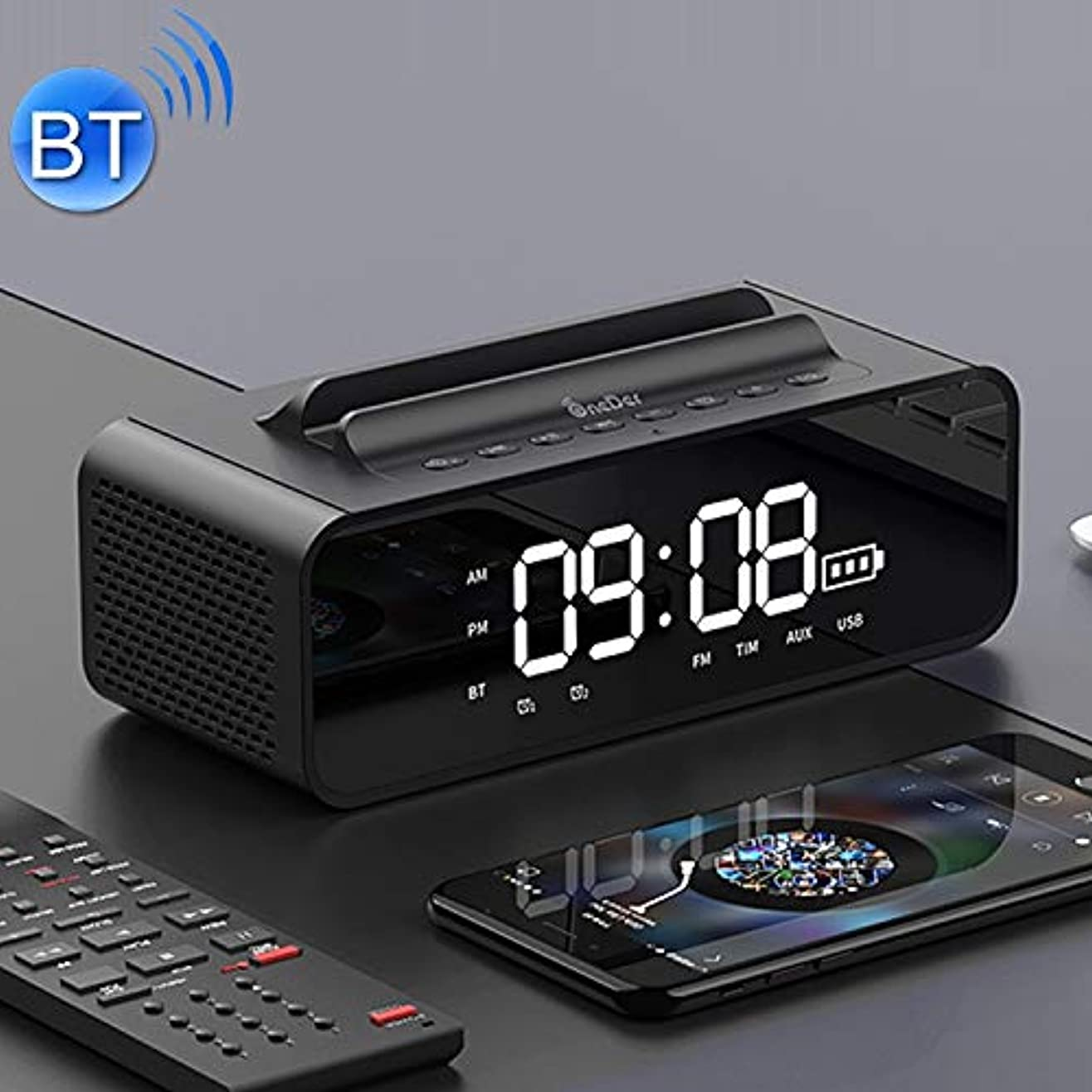 ガイダンス空の聖人Eryanone サポートハンズフリー&FM&TFカード&AUX&USBドライブ(ブラック)新しい、LEDスクリーン?アラーム時計、V06明るいサウンドボックスラジオのBluetoothスピーカー (色 : Black)