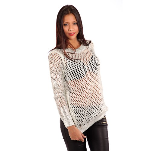 Young-Fashion Damen Pullover Glamour im Lochstrick Muster Transparent