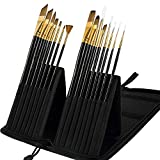 Mont Marte Art Paint Brushes Set, Great for Watercolor, Acrylic, Oil -15 Different Sizes Nice Gift for Artists, Adults & Kids, Black