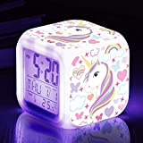 TOUCH X Girls Alarm Clocks, Unicorn Night Light Kids Alarm Clocks with 4 Sided Unicorn Pattern&9 Kinds of LED Glowing Wake Up Bedside Clock Gifts for Unicorn Room Decor for Girls Bedroom (Purple)