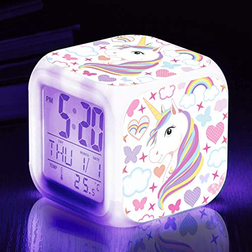 TOUCH X Girls Alarm Clocks, Unicorn Night Light Kids Alarm Clocks with 4 Sided Unicorn Pattern&9 Kinds of LED Glowing Wake Up Bedside Clock Gifts for Unicorn Room Decor for Girls Bedroom
