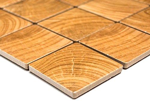 Mozaïeknetwerk mozaïektegel vierkant Clico hout bruin keramische tegel muur vloer douche tegelspiegel 60 x 100 mm /1 Handmuster ca. 6x10 cm