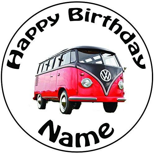 Personalisierter VW Campingbus Zuckerguss Kuchen Topper / Kuchendekoration - 20 cm Großer Kreis - Jeder Name Und Jedes Alter