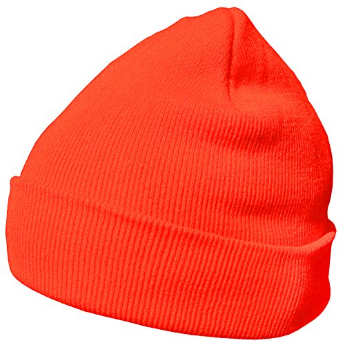 DonDon Wintermütze Mütze warm klassisches Design modern und weich neonorange