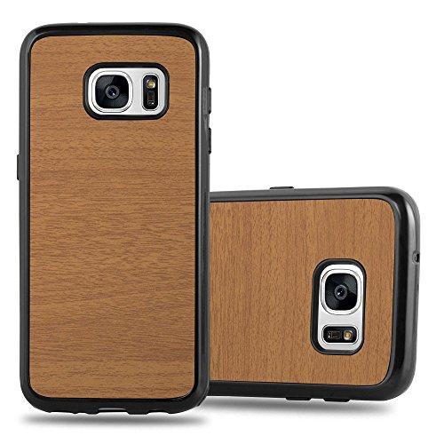 Preisvergleich Produktbild Cadorabo Hülle für Samsung Galaxy S7 - Hülle in Wooden BRAUN Handyhülle aus TPU Silikon in Vintage Holz Optik - Silikonhülle Schutzhülle Ultra Slim Soft Back Cover Case Bumper