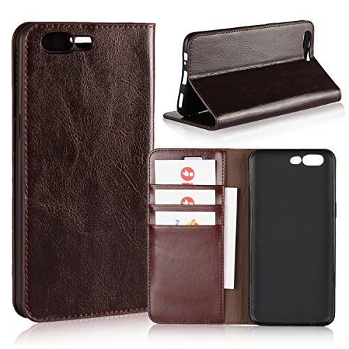 OnePlus 5/1+5 Case,iCoverCase Genuine Leather Wallet Case [Slim Fit] Folio Book Design with Stand and Card Slots Flip Case Cover for OnePlus 5/1+5 5.5 inch(Dark Brown)
