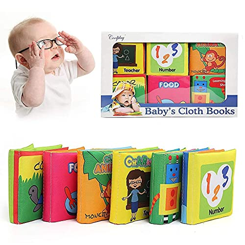 SNOWIE SOFT ® 6Pcs Baby Cloth Book, Baby Soft Toys Baby Present Fun Interactive Soft Cartoon Book with Sounds Early Learning Toys for 0-3 Year Olds Baby Great Gift for Babies