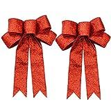 FIVEI Christmas Tree Bows Glitter Red Ribbon Bows Ornaments for Xmas Tree Hanging Decor 2 pcs
