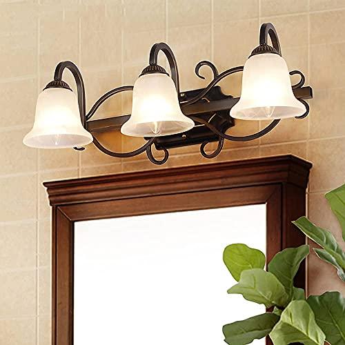 ZYQHJKLHK Lampada da Specchio da Bagno Vintage 57 cm E14 Lampada Frontale a Specchio a 3 luci con Paralume in Vetro Applique da Bagno per specchiera da Interni
