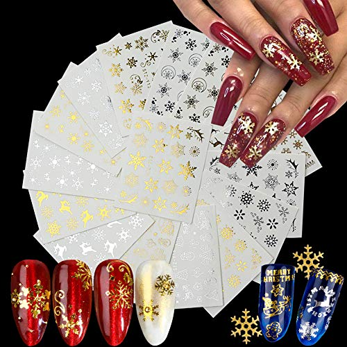 16 Sheets Christmas Nail Art Stickers Gold Nail Decals Water Transfer Winter Nails Sticker Snowflake Snowmen Xmas Tree Deer Nail Designs for Women Girls DIY Manicure Tips Nail Charms Decoration
