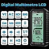 Elikliv Digital Multímetro LCD, Polimetro Multifuncional Profesional Portátil con 4,7 Pulgadas Pantalla para Medición de Corriente Continua Voltaje, Corriente CA, Capacitancia y Resistencia(ET8134)