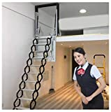Attic Folding Telescopic Ladder Alloy Invisible loft Hole Stairs Hinge 6ft-9.84ft Pull Down Ladder Customized Size (Custom Opening,Type 1)