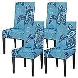 Juego de 4 fundas de silla para comedor, diseño de animales marinos, pulpos, elásticos, fundas de silla lavables, protector de asiento extraíble para cocina, hotel, restaurante, fiesta ceremonia