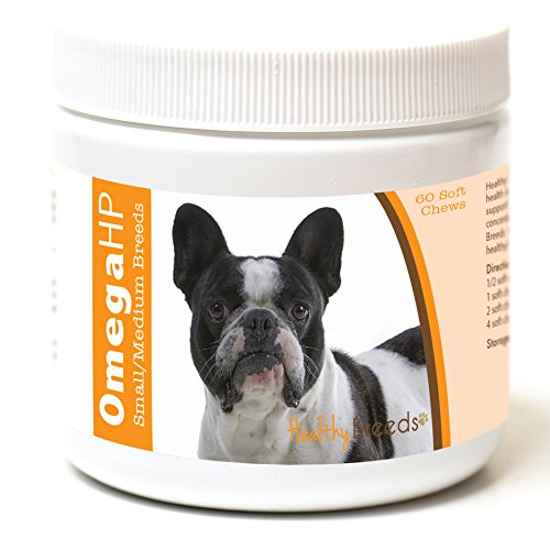 Healthy Breeds French Bulldog Omega HP Fatty Acid Skin and Coat Support Soft Chews 60 Count