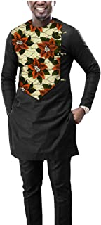 Men`s 2 Piece Set African Dashiki Print Coats Jacket and Ankara Pants Traditional Wear Pockets Tracksuit