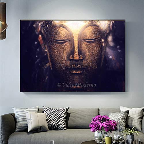 zhuziji DIY Pintar por números Buda Moderno Arte de la Pared de Piedra Pintura artística Imagen de la Pared Decoración del hogar budista40x60cm(Sin Marco)
