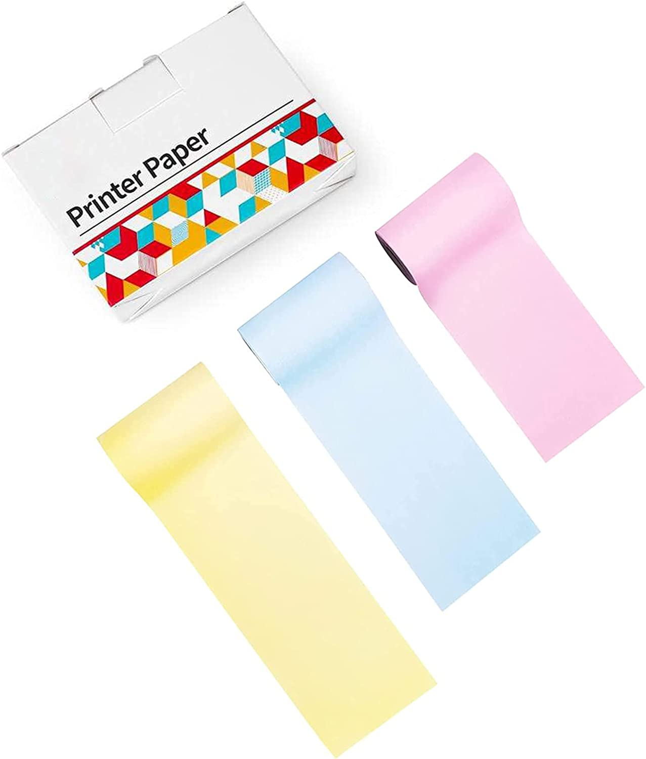 Memoking M02 Thermal Printer Paper - Compatible with Phomemo M02/M02S/M02PRO/M03 Printer - Yellow/Pink/Blue Thermal Labels, 53mm x 6.5m / 2.08in x 21.32ft, 3 Rolls