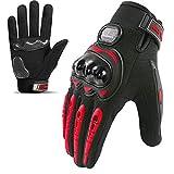Guantes de Moto,Pantalla-Táctil Ciclismo-Guantes-Hombre - para Carreras de Moto,Motocross,Bicicleta de Montaña,Actividades al Aire Libre (Rojo, M)