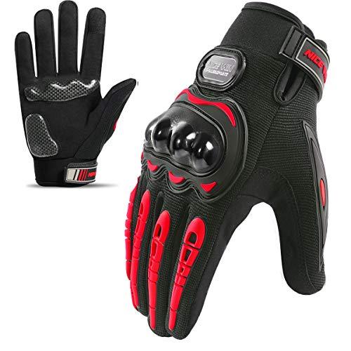 LOHOTEK Motorradhandschuhe-Touchscreen Motorrad-Fahrradhandschuhe Motorradrennen-handschuhe Herren - für Motorradrennen Mountainbike Outdoor Aktivitäten (Rot, M)