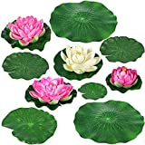 Landscaping Lotus Lotus Leaf Artificial Floating Foam Lotus Flowers Lotus Leaves Water Lily Pads Natural and Beautiful Combination for Patio Koi Pond Pool Garden Party Holiday Event Decoration.