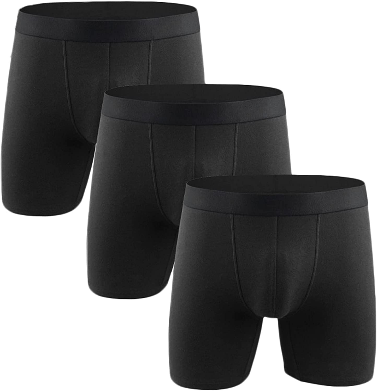 Andongnywell Men's Mid waist Sport Solid color waisted Boxer Briefs U convex design Underwear 3 Pack
