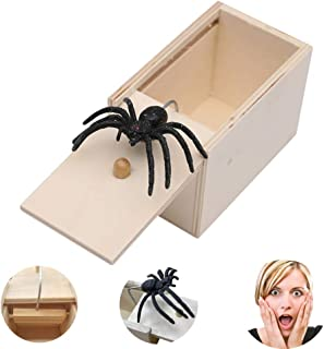 びっくり箱 飛び出す 蜘蛛 おもしろ パーティーグッズ スパイダーボックスのミニ木箱 蜘蛛 恐怖ボックス 悪ふざけ 木箱動物恐怖 ジョークおもちゃ誕生日クリスマスギフト (ウッドカラー)