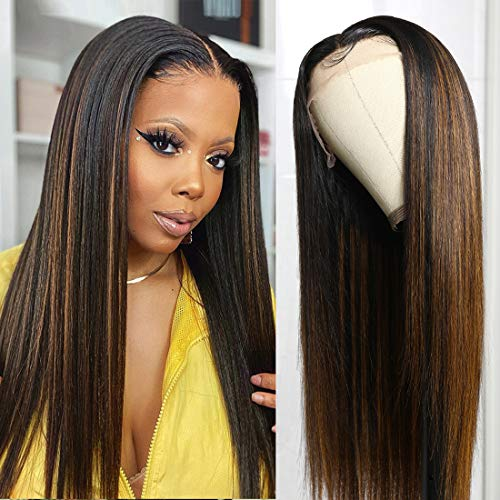 UNice Balayage Blonde Straight T Part Lace Front Wig Human Hair for Black Women, Brazilian Remy Hair Ombre Highlight 13x5x0.5 Lace Frontal Wigs Pre Plucked with Baby Hair 150% Density 20 inch